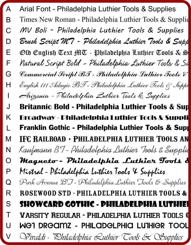 NP-5164 Neck Plate font list